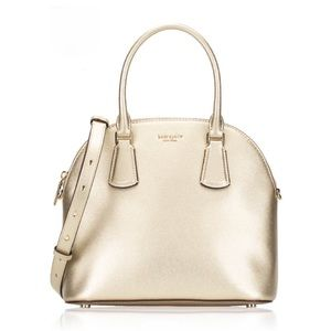 Kate Spade Sylvia Large Dome Satchel in Pale Gold